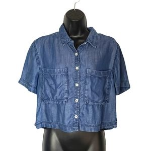 Forever 21 faux denim button down crop top small